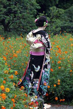 A young woman wearing furisode.