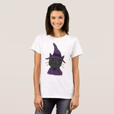 Halloween T-shirt Cute Black Cat Wizard T-shirt - Halloween happyhalloween festival party holiday
