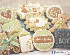 Sage Green & Brown Baby Boy Cookies
