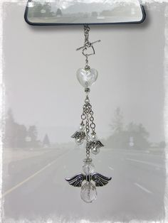 Guardian Angel Car Charm - Rear View Mirror Car Accessories. $25.00, via Etsy.