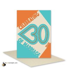 30th wedding anniversary card pearl retro 30 heart typography wedding congratulations card handmade blank or personalised message inside (5.60 AUD) by stuARTconcepts