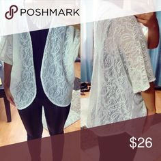 lace cardigan 😘😍 Beautiful white lace cardigan. Cute little cover up for a party or an everyday layering staple. Sweaters Cardigans