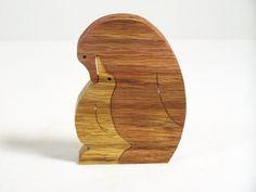 wooden puzzle scroll saw cut 2 penguins oak wood by BasketsByDebi, $10.00