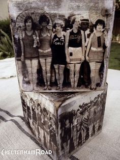 Janet: transfer old bathing suit photos to wood box