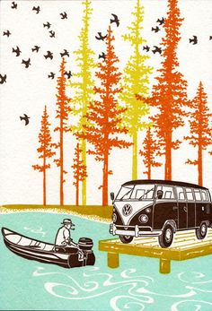 "One of six images in Old School Stationers' Camping Circa 1960's collection this 6 1/2"" x 9 1/2"" ..."