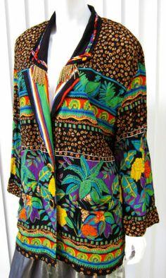 Vintage Carole Little Long Sleeve Blazer Size 8, Paisley