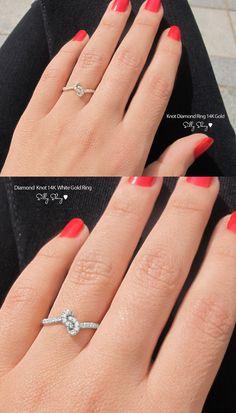 Knot Diamond Ring  The Original 14K Gold by SillyShiny on Etsy, $688.00