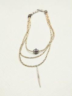 Free People Stone 3 Tier Pendant Necklace