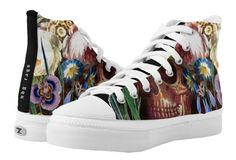 Shop Skull Bouquet High-Top Sneakers created by NDGRags. Inspirational Text, Skull Illustration, Jewel Tones, Top Shoes, Accent Colors, High Tops, High Top Sneakers, Bouquet, Pairs