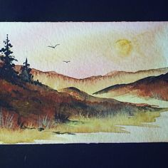 Art painting aceo SFA original paintings sunset landscape 84 £4.00
