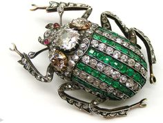 Antique emerald and diamond stag beetle brooch.