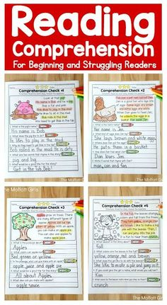 Reading Comprehension Checks for September- Build confidence in beginning and struggling readers with these short stories, while teaching students to find text evidence to support their answers. Reading Comprehension Games, Comprehension Strategies, Reading Response, Comprehension Posters, Phonics Reading, Reading Intervention, Reading Passages, Kindergarten Reading, Teaching Reading