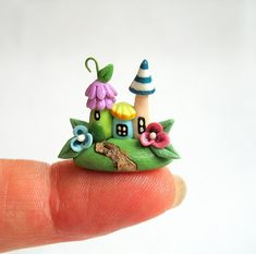 Miniature Whimsy Fairy House Trio  OOAK by C. Rohal via Etsy