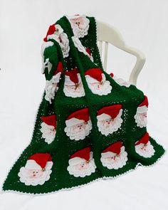 Christmas Santa Afghan Pattern, Maggie's Crochet.