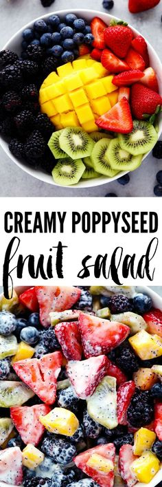 Creamy Poppyseed Fruit Salad - Made with delicious mouthwatering fruit and tossed in a creamy poppyseed dressing. This will be a hit at your next potluck!