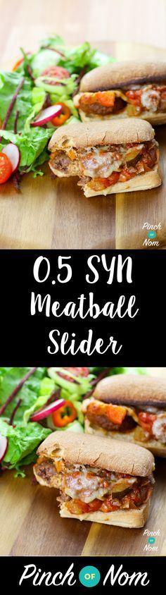 0.5 Syn Meatball Marinara Slider | Slimming World - Pinchofnom.com