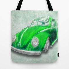 VW Beetle Green Tote Bag by Alice Gosling - $22.00