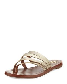 Patos+Flat+Thong+Sandal+Slide,+Gold+by+Tory+Burch+at+Neiman+Marcus.