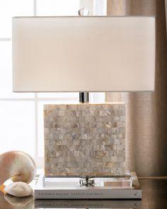 "Regina-Andrew Design Rectangular Mother-of-Pearl Lamp 17""W x 7""D x 21.5""T | Horchow"