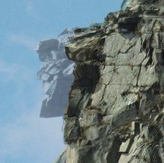 The Old Man in the Mountain rock formation in New Hampshire before and after composite picture.  It collapsed in 2003