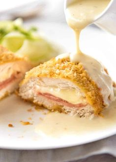 My EASY Chicken Cordon Bleu recipe. All the flavour, all the crunch, healthier a… My EASY Chicken Cordon Bleu recipe. All the flavour, all the crunch, healthier and far easier! Served with an incredible Dijon cream sauce. Easy Chicken Cordon Bleu, Chicken Cordon Blue Sauce, Cordon Bleu Food, Best Chicken Cordon Bleu Recipe, Cordon Bleu Sauce, Chicken Cordon Bleu Casserole, Le Cordon Bleu, Dijon Cream Sauce, Sweets