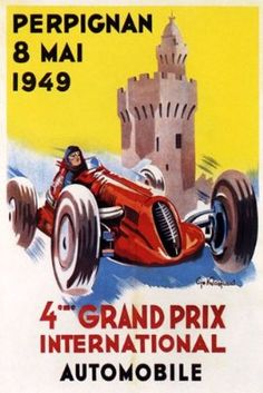 PERPIGNAN 1949 GRAND PRIX CAR RACE INTERNATIONAL AUTOMOBILE FRANCE FRENCH VINTAGE POSTER CANVAS REPRO