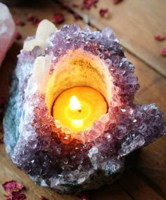 Amethyst Geode Candle Holder Beautiful Home by ShopLoveTree