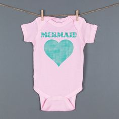 Pink Mermaid Baby One Piece Baby Girl Mermaid by Feather4Arrow, $18.00