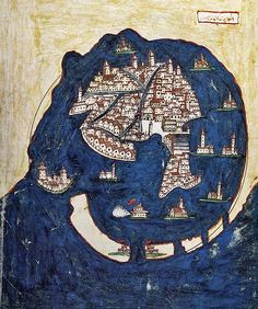 """'View of Venice' comes from a 1688 copy of a book by Suleiman the Magnificent's Ottoman Turkish Admiral Piri Re'is, titled Kitab-l Bahriye (""Book of the Mariner"") and originally produced in Medieval Manuscript, Illuminated Manuscript, Vintage Maps, Antique Maps, Piri Reis Map, Venice Map, Map Globe, Old Maps, City Maps"