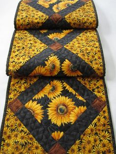 Handmade Quilted Table Runner with Sunflowers by patchworkmountain.com