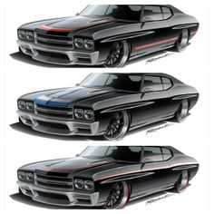 Awesome attention to detail from Ragle Design 70 chevelle pro touring rendering custom bumper ground effects body kit.