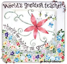 greatest teacher gift.  Pottery painting DIY Teacher appreciation gift idea.
