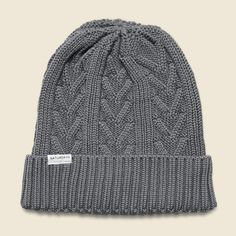 Cable Beanie - Grey Heather
