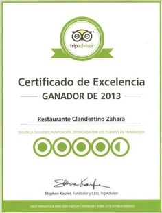 Im Sommer 2012 wurden wir eins der beliebste Restaurants in Zahara de los Atunes und erhielten von Tripadvisor diese Urkunde.