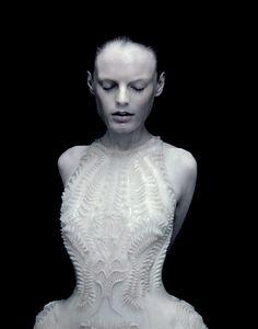 Fashion as Art - 3D-printed dress with textured surface patterns; innovative fashion design // Iris van Herpen
