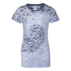 Navy Carolina Blue Juniors' Twirl Dyed AS LOW AS $12.37 PRINTED by Genuine Pigment  Two-color tie dying joins an allover burnout pattern for a one-of a kind tee.4.2 oz., 50/50 ringspun cotton/polyesterShoulder to shoulder taping, side seamDouble-needle stitched sleeves and bottom hem