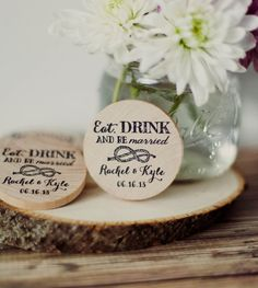 50 Eat Drink and Be Married Customized Save The Date Wedding Favor Wood Magnets