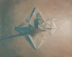 "Still life paper crane study, ""Blueprints."" Oil on Board, 14"" x 18"" 2015"