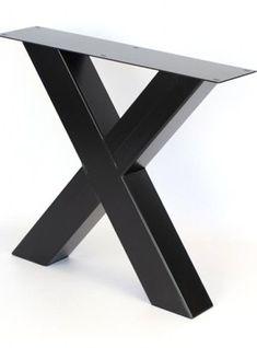 Gambe in ferro X colore nero per tavolo da pranzo fino a 250 cm