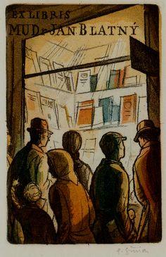 Ex libris for M.D. Jan Blatný, Pavel Simon. Czech (1920 - 1958)