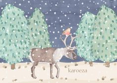 Een illustratie van een rendier, een vogeltje en wat kerstbomen wordt onze mooie kerstkaart. #illustration #christmas #gouache #reindeer