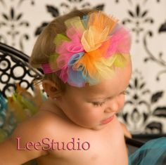 Rainbow tulle bow headband.