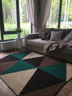 Rectangular crochet rug pattern PDF crochet p Beige Carpet, Diy Carpet, Rugs On Carpet, Hall Carpet, Crochet Rug Patterns, Crochet Doily Rug, Crochet Carpet, Mid-century Interior, Carpet Styles