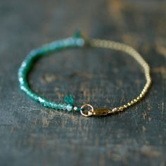Green Onyx Ombre Bracelet Gemstone Spectrum Gold by ShopClementine, $79.00