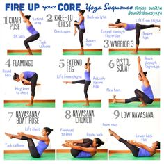 Core Yoga Sequence. Fire up your core, connect with your inner strength. @miss_sunitha #sunithalovesyoga