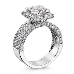 Diamond Engagement Ring in 14K Gold / White GIA Certified, Princess, 3.12 Carat, E Color, SI1 Clarity - http://www.sofiasluxuryjewelry.com/jewelry/wedding-anniversary/engagement-rings/diamond-engagement-ring-in-14k-gold-white-gia-certified-princess-312-carat-e-color-si1-clarity-com/