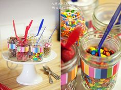 I have a bunch of mason jars for toppings...we could wrap ribbon or scrapbook paper around them.
