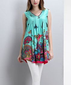 Love this Aqua Floral Paisley Pin Tuck Sleeveless Tunic by Reborn Collection on #zulily! #zulilyfinds