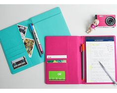 Professional PU Leather Multifunction Women Padfolio A5 Size Writing Portfolio  #LongAsia
