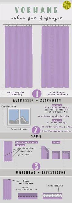 In nur 3 Schritten zum perfekten Vorhang fürs Fenster. Mit dieser Anleitung für Anfänger ganz einfach Vorhang nähen lernen.
